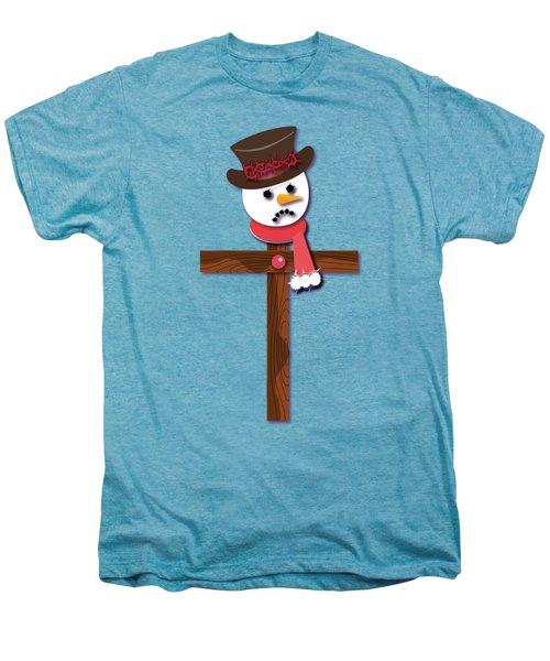 Snowman Christian Cross Men's Premium T-Shirt by Reggie Hart