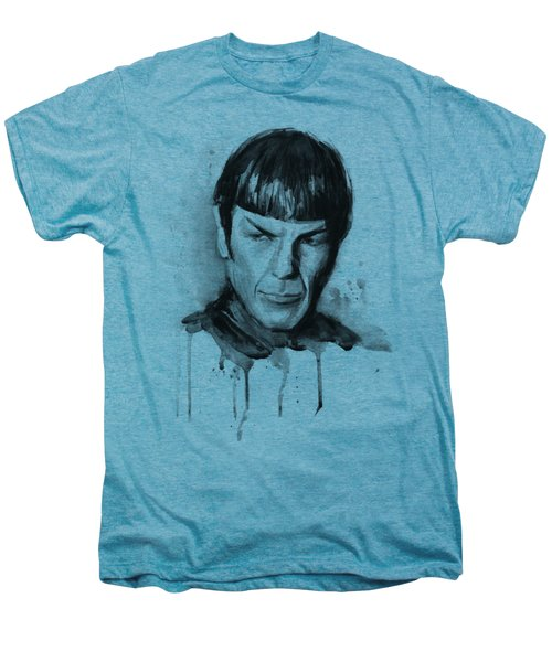 Spock Portrait Watercolor Star Trek Fan Art Men's Premium T-Shirt by Olga Shvartsur