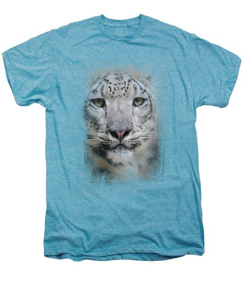 Stare Of The Snow Leopard Men's Premium T-Shirt by Jai Johnson