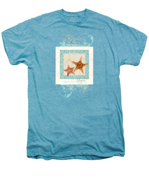Starfish Greek Key Pattern W Swirls Men's Premium T-Shirt by Audrey Jeanne Roberts