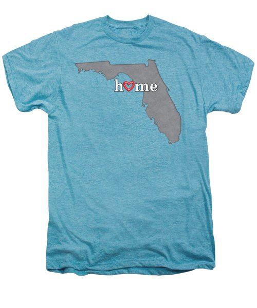 State Map Outline Florida With Heart In Home Men's Premium T-Shirt by Elaine Plesser