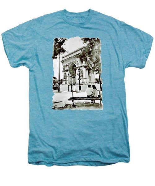 The Arc De Triomphe Paris Black And White Men's Premium T-Shirt by Marian Voicu