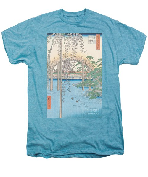 The Bridge With Wisteria Men's Premium T-Shirt by Hiroshige