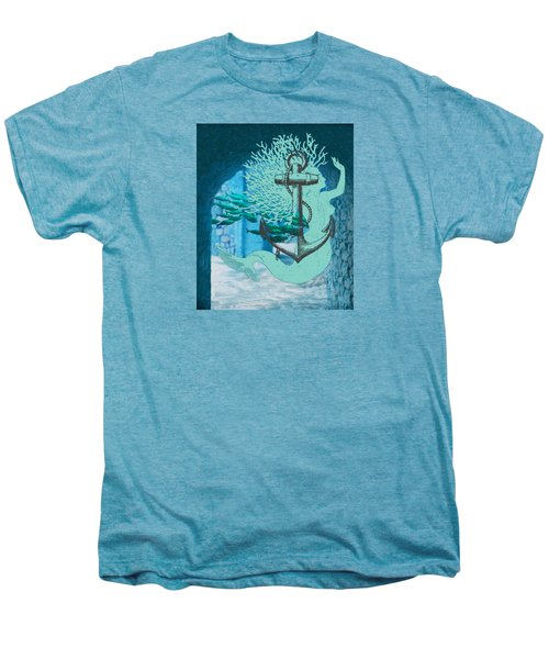 The Mermaid The Anchor And School Of Fish In The Underwater Ruins Men's Premium T-Shirt by Sandra McGinley