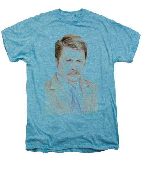 Ron Swanson Watercolor Portrait Men's Premium T-Shirt by Olga Shvartsur