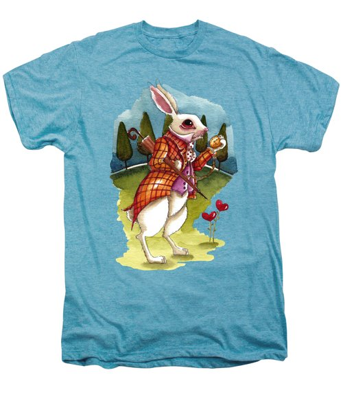 The White Rabbit Is Late Men's Premium T-Shirt by Lucia Stewart