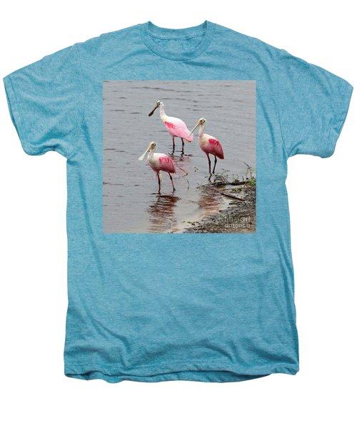 Three Roseate Spoonbills Square Men's Premium T-Shirt by Carol Groenen