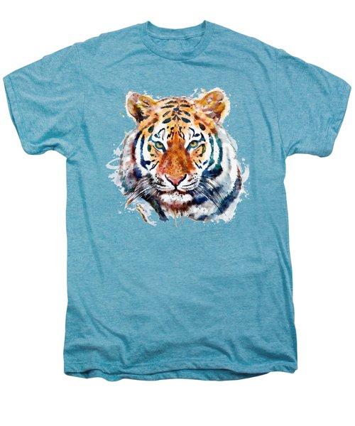 Tiger Head Watercolor Men's Premium T-Shirt by Marian Voicu
