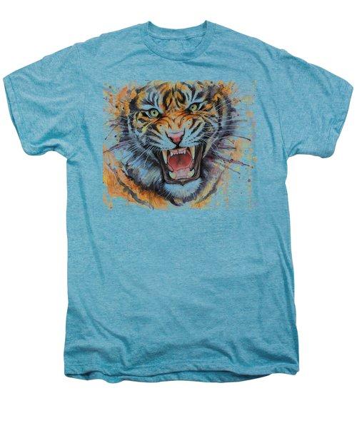 Tiger Watercolor Portrait Men's Premium T-Shirt by Olga Shvartsur