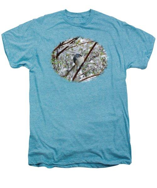 Titmouse On Snowy Branch Men's Premium T-Shirt by Larry Bishop