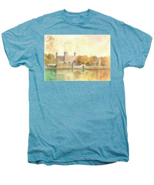Tower Of London Watercolor Men's Premium T-Shirt by Juan Bosco