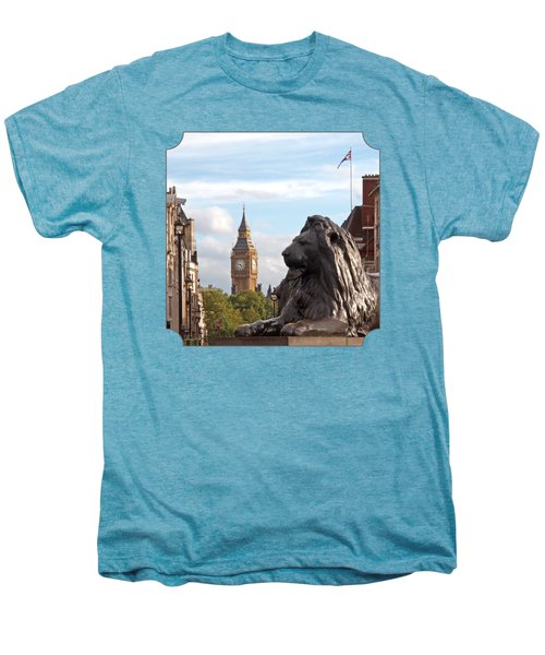 Trafalgar Square Lion With Big Ben Men's Premium T-Shirt by Gill Billington