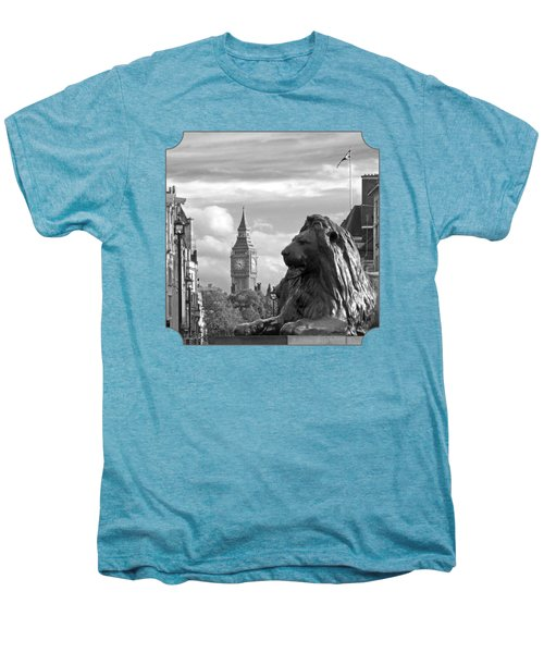 Trafalgar Square Lion With Big Ben In Black And White Men's Premium T-Shirt by Gill Billington