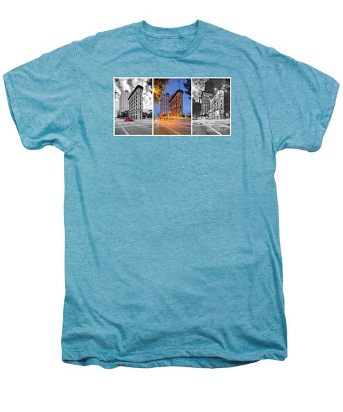 Triptych Of The Flatiron Building In Downtown Fort Worth - Texas  Men's Premium T-Shirt by Silvio Ligutti