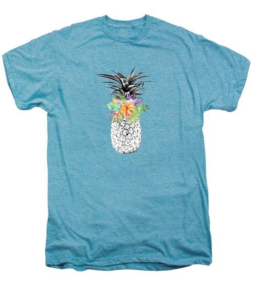 Tropical Pineapple Flowers Aqua Men's Premium T-Shirt by Dushi Designs
