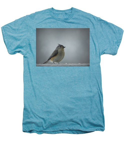 Tufted Titmouse In The Snow Men's Premium T-Shirt by Cricket Hackmann