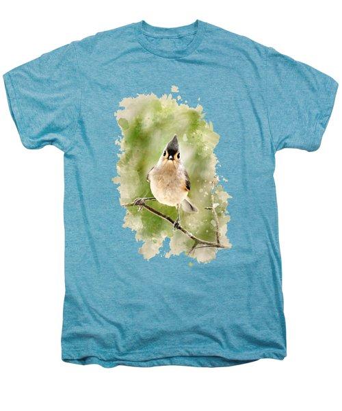 Tufted Titmouse - Watercolor Art Men's Premium T-Shirt by Christina Rollo