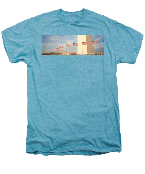 United States Flags At The Base Men's Premium T-Shirt by Panoramic Images