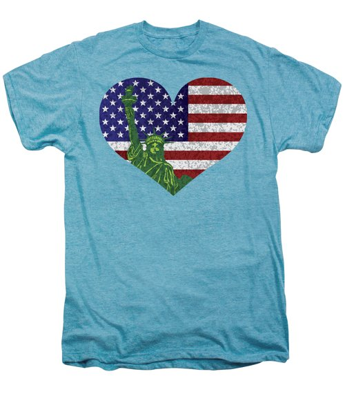 Usa Heart Flag And Statue Of Liberty Men's Premium T-Shirt by Jit Lim