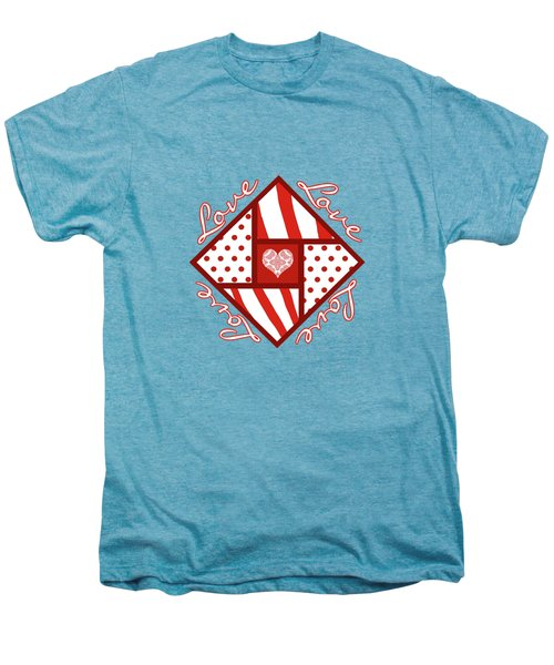 Valentine 4 Square Quilt Block Men's Premium T-Shirt by Methune Hively