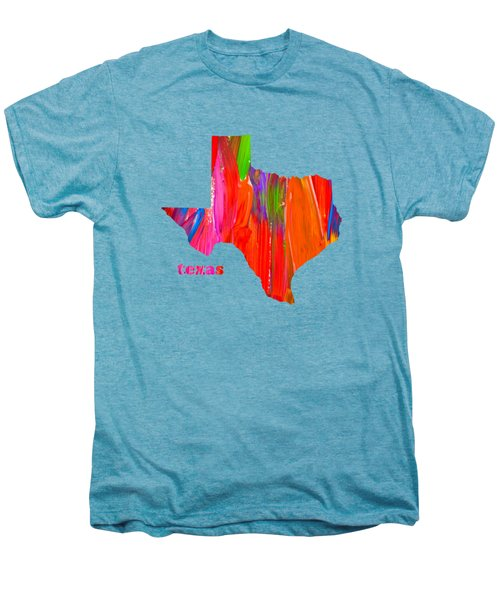 Vibrant Colorful Texas State Map Painting Men's Premium T-Shirt by Design Turnpike