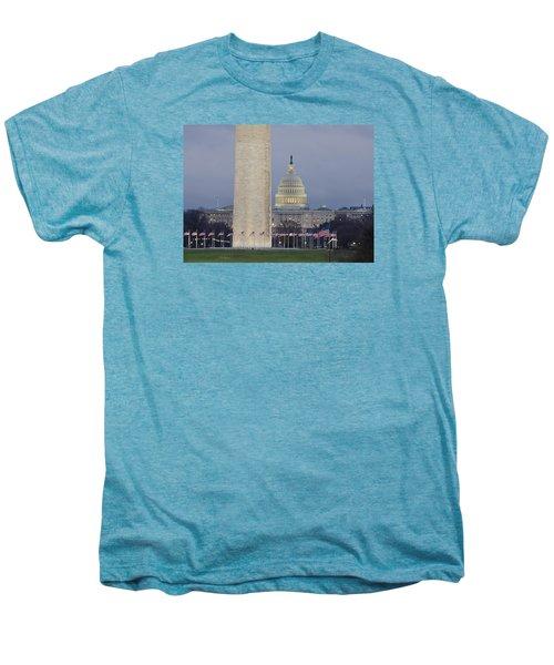 Washington Monument And United States Capitol Buildings - Washington Dc Men's Premium T-Shirt by Brendan Reals