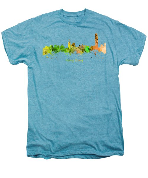 Watercolor Skyline Of Hong Kong Men's Premium T-Shirt by Chris Smith