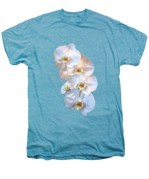 White Orchid Cutout Men's Premium T-Shirt by Linda Phelps