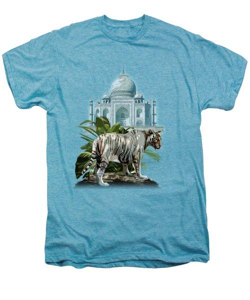White Tiger And The Taj Mahal Image Of Beauty Men's Premium T-Shirt by Regina Femrite