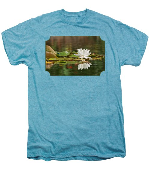 White Water Lily With Damselflies Men's Premium T-Shirt by Gill Billington