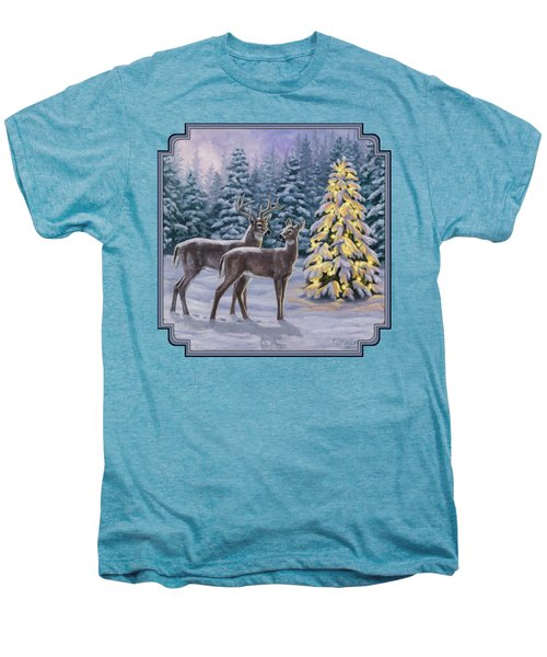 Whitetail Christmas Men's Premium T-Shirt by Crista Forest