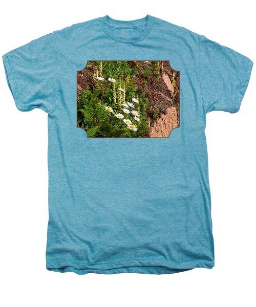 Wild Daisies In The Rocks Men's Premium T-Shirt by Gill Billington