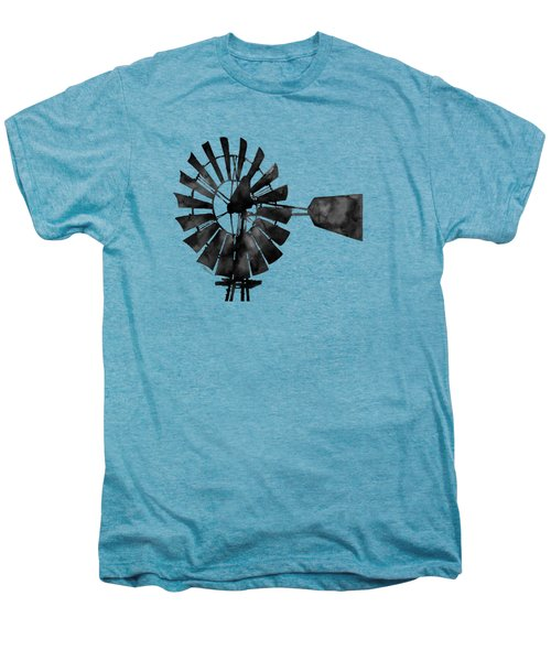 Windmill In Black And White Men's Premium T-Shirt by Hailey E Herrera
