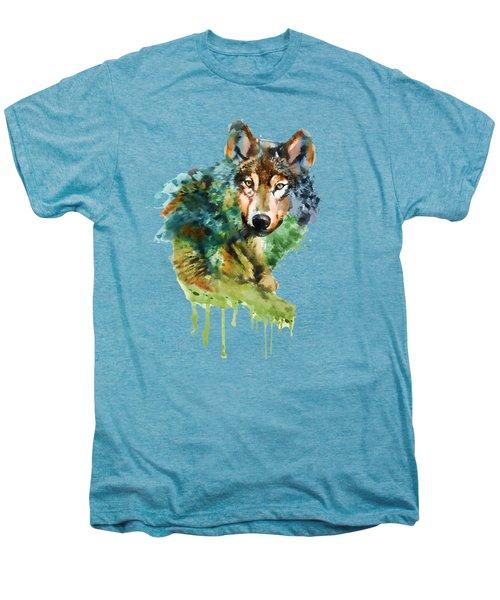Wolf Face Watercolor Men's Premium T-Shirt by Marian Voicu