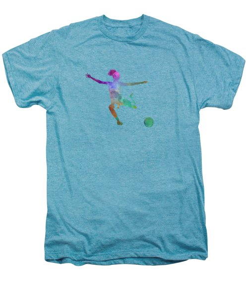 Woman Soccer Player 03 In Watercolor Men's Premium T-Shirt by Pablo Romero