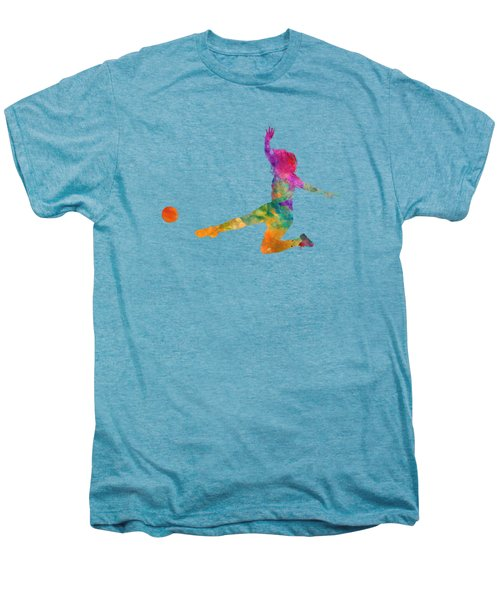 Woman Soccer Player 11 In Watercolor Men's Premium T-Shirt by Pablo Romero