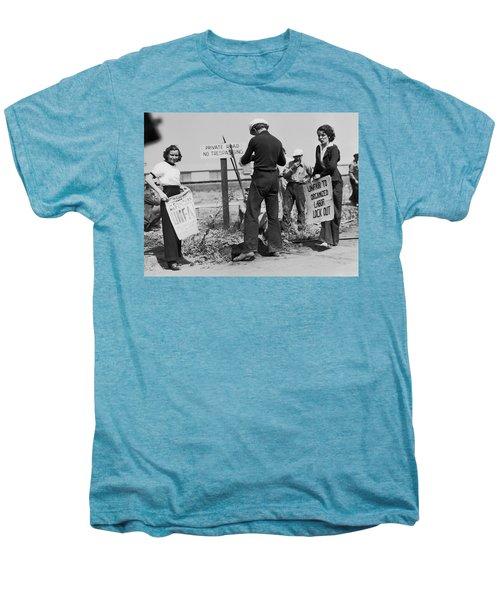 Women Pickets In Salinas Men's Premium T-Shirt by Underwood Archives