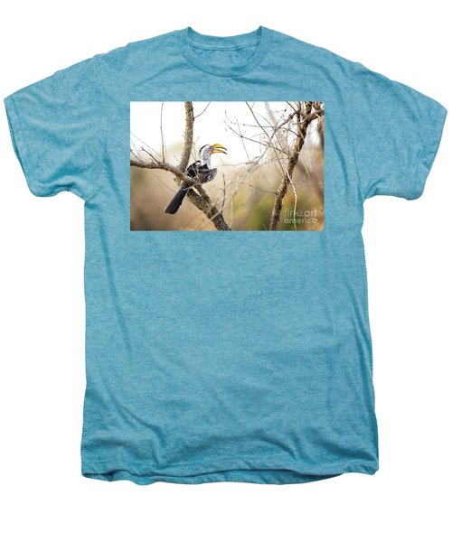 Yellow-billed Hornbill Sitting In A Tree.  Men's Premium T-Shirt by Jane Rix