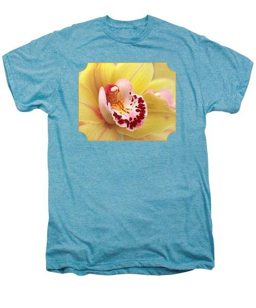 Yellow Cymbidium Orchid Men's Premium T-Shirt by Gill Billington