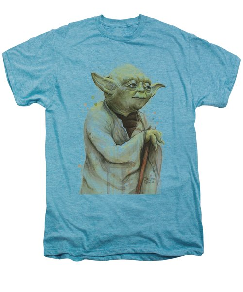 Yoda Watercolor Men's Premium T-Shirt by Olga Shvartsur
