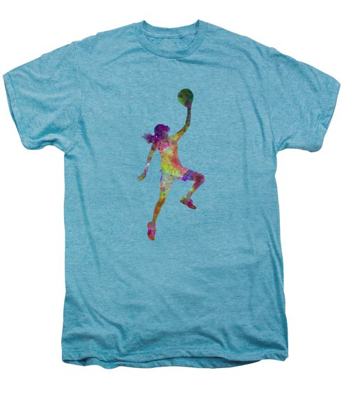 Young Woman Basketball Player 02 In Watercolor Men's Premium T-Shirt by Pablo Romero