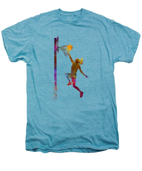 Young Woman Basketball Player 04 In Watercolor Men's Premium T-Shirt by Pablo Romero