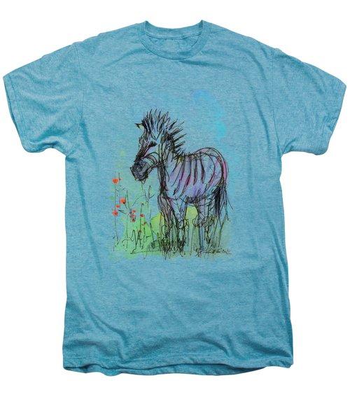 Zebra Painting Watercolor Sketch Men's Premium T-Shirt by Olga Shvartsur