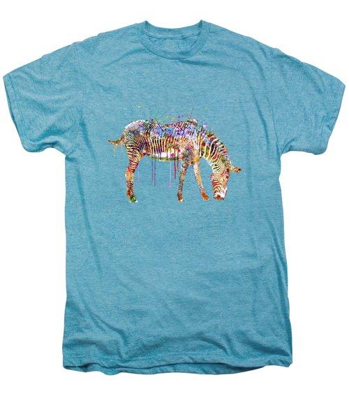 Zebra Watercolor Painting Men's Premium T-Shirt by Marian Voicu