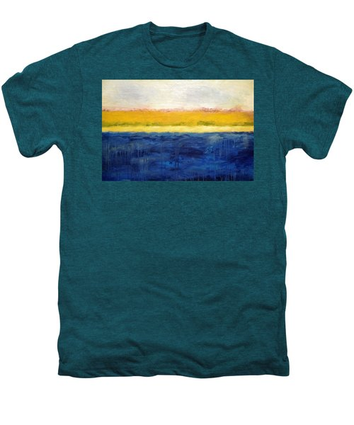 Abstract Dunes With Blue And Gold Men's Premium T-Shirt by Michelle Calkins