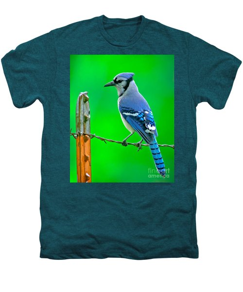 Blue Jay On The Fence Men's Premium T-Shirt by Robert Frederick