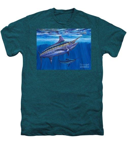 Blue Marlin Bite Off001 Men's Premium T-Shirt by Carey Chen