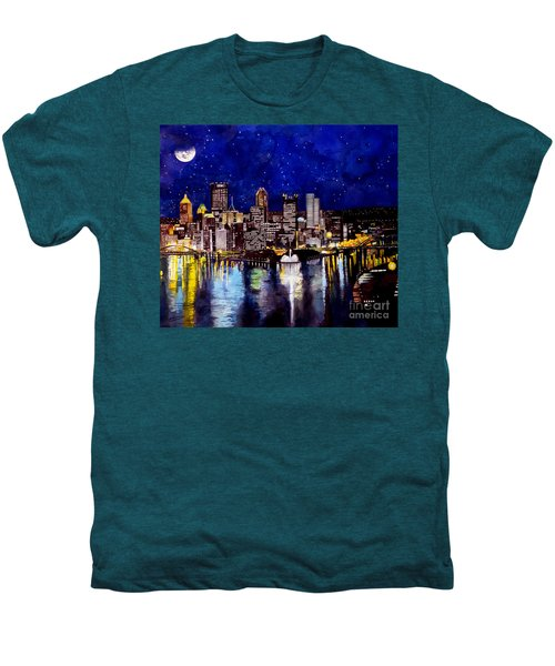 City Of Pittsburgh At The Point Men's Premium T-Shirt by Christopher Shellhammer