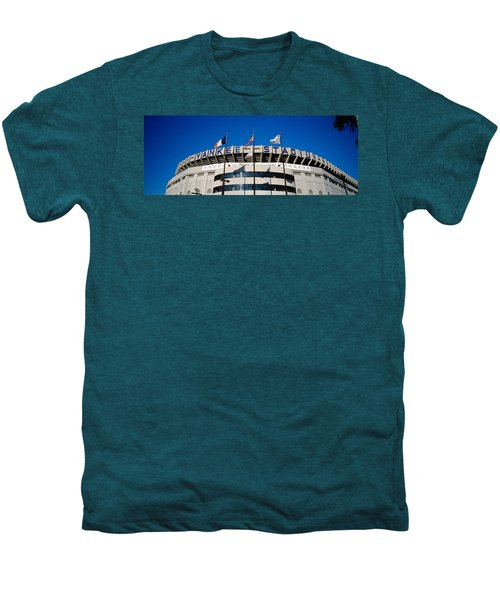 Flags In Front Of A Stadium, Yankee Men's Premium T-Shirt by Panoramic Images