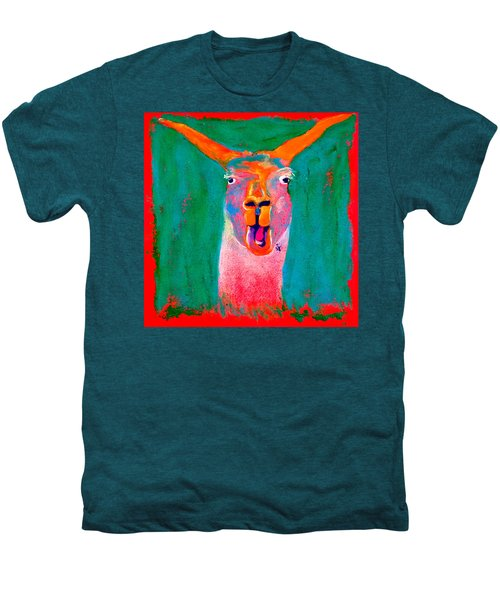 Funky Llama Art Print Men's Premium T-Shirt by Sue Jacobi